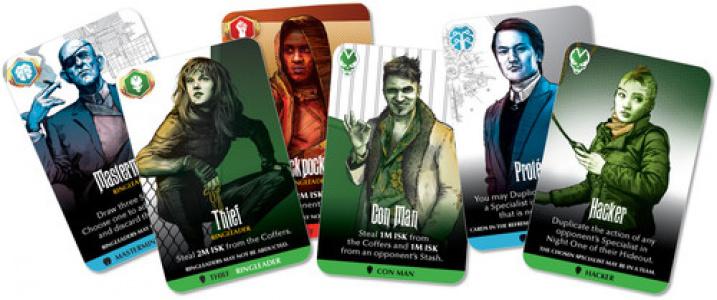 Przykładowa początkowa ręka - zawsze zawiera trzech Ringleader'ów i trzy losowe karty.