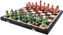 Drewniane Szachy - Babuszki (zielono-czerwony)