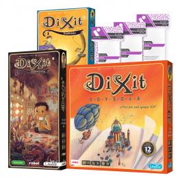 Pakiet marzyciela: Dixit Odyseja + Podróże + Harmonia + Koszulki