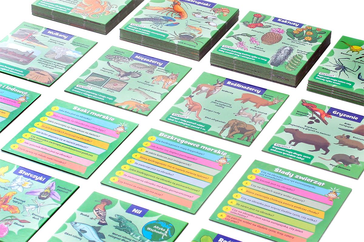 Przykładowe karty z gry BrainBox - Przyroda