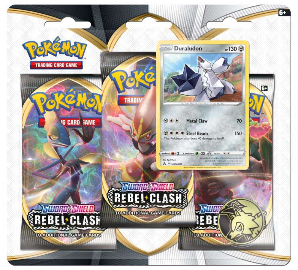 Pokemon TCG: Sword & Shield - Rebel Clash 3x Blister Booster - Duraludon
