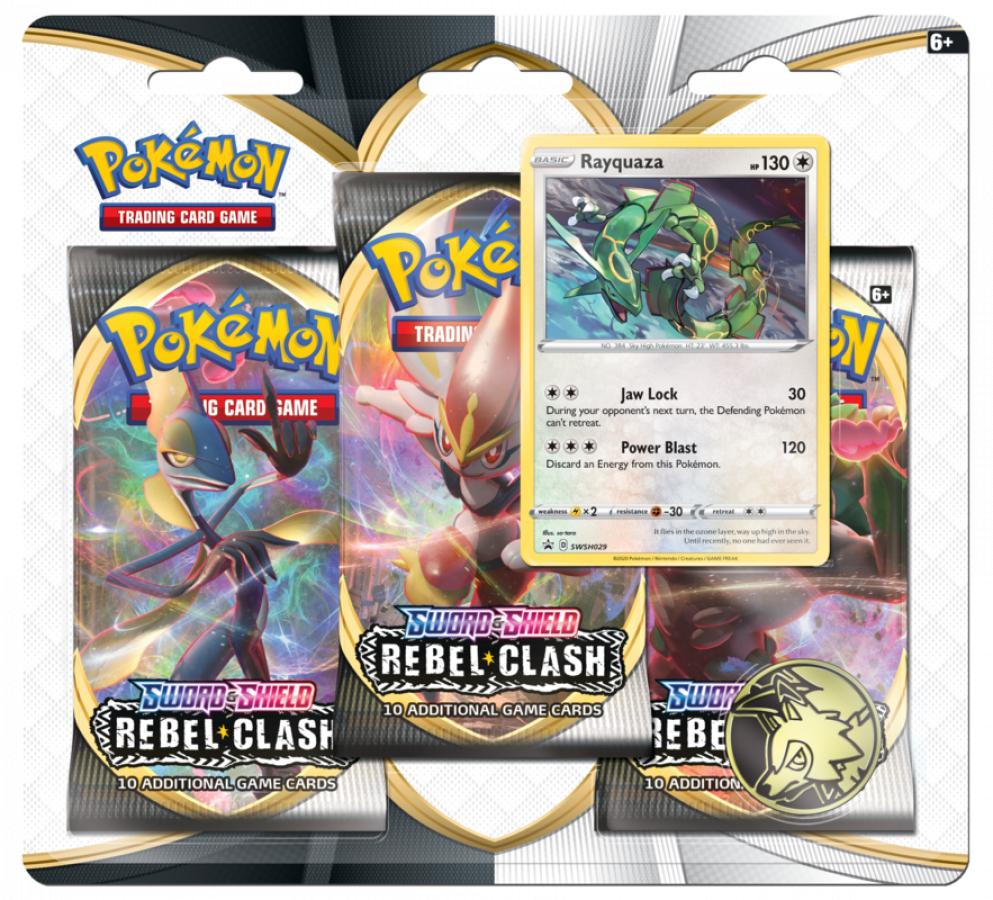 Pokemon TCG: Sword & Shield - Rebel Clash 3x Blister Booster - Rayquaza