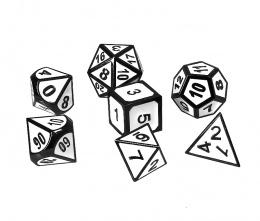 Komplet kości REBEL RPG - Metal - Tłoczona obsydianowa biel