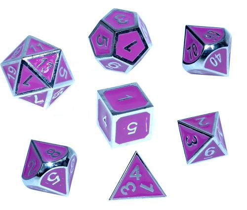 Komplet kości REBEL RPG - Metal - Tłoczona chromowana purpura