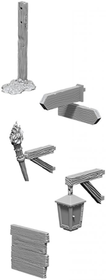 WizKids Deep Cuts: Unpainted Miniatures - Signs & lights