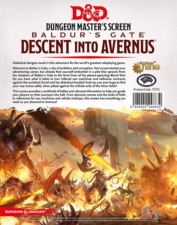 Dungeons & Dragons: Dungeon Master's Screen - Baldur's Gate - Descent Into Avernus