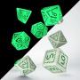 Komplet kości RPG: Cyfrowe - Fosforyzujące - Biało-zielone