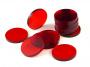 Crafters: Podstawki akrylowe - Transparentne - Okrągłe 32 x 3 mm - Czerwone (15)