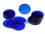 Crafters: Podstawki akrylowe - Transparentne - Okrągłe 32 x 3 mm - Niebieskie (15)