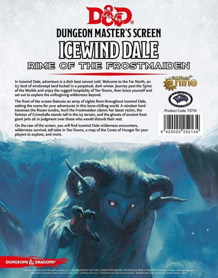 Dungeons & Dragons Icewind Dale: Rime of the Frostmaiden Dungeon Master's Screen
