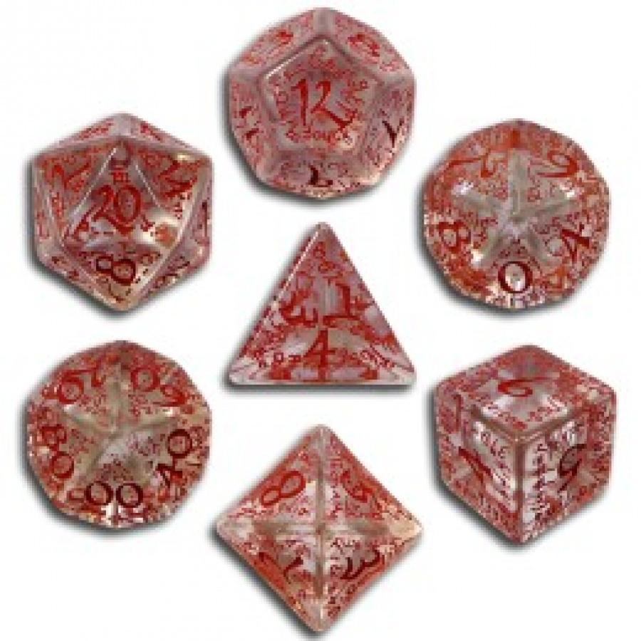 Komplet Kości elficki - Przejrzysto-czerwony