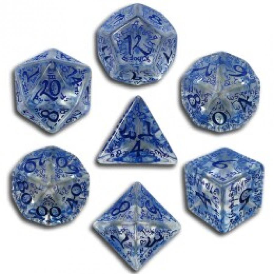 Komplet Kości elficki - Przejrzysto-niebieski