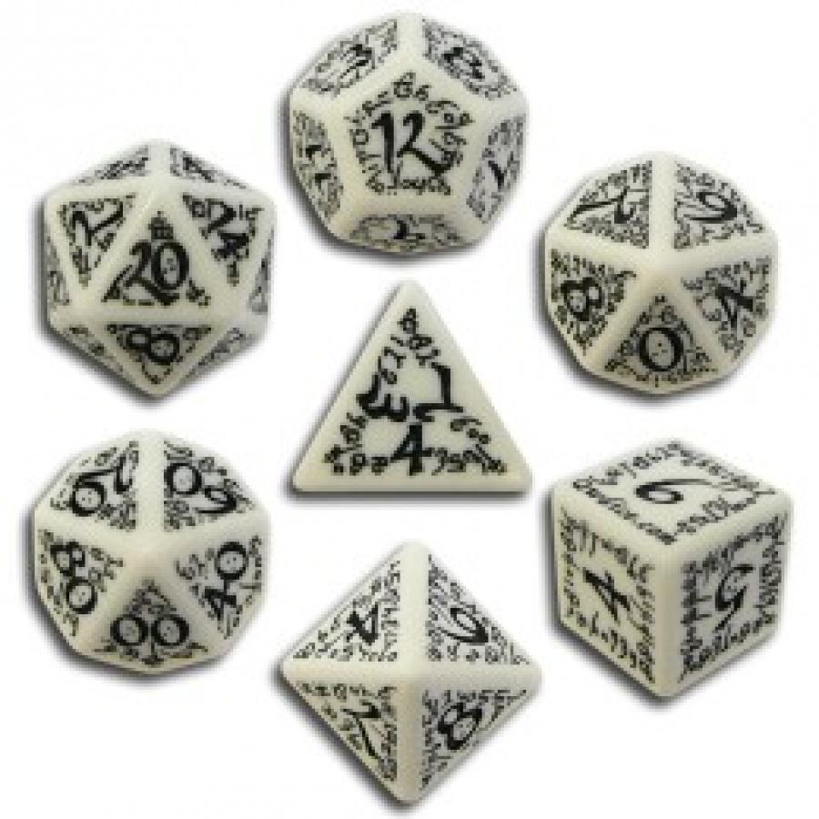 Komplet Kości elficki - Biało-czarny
