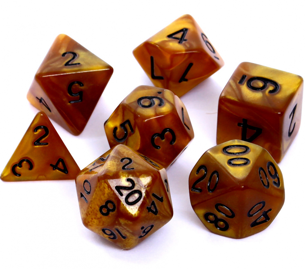 Komplet kości REBEL RPG - Perłowe - Ciemnożółte (czarne cyfry)