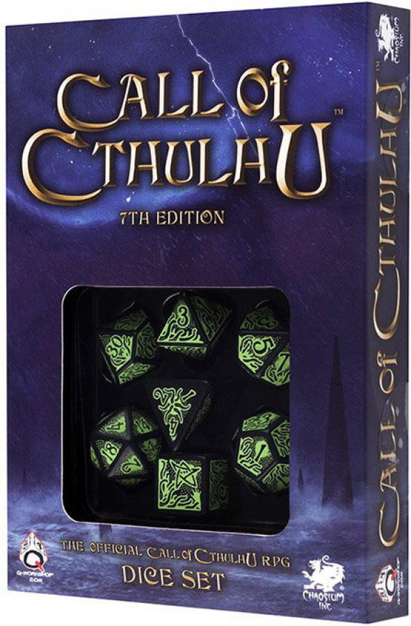 """Komplet Kości """"Zew Cthulhu"""" 7th Edition - Czarno-zielony"""