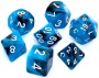 Komplet kości REBEL RPG - Dwukolorowe - Czarno-niebieskie