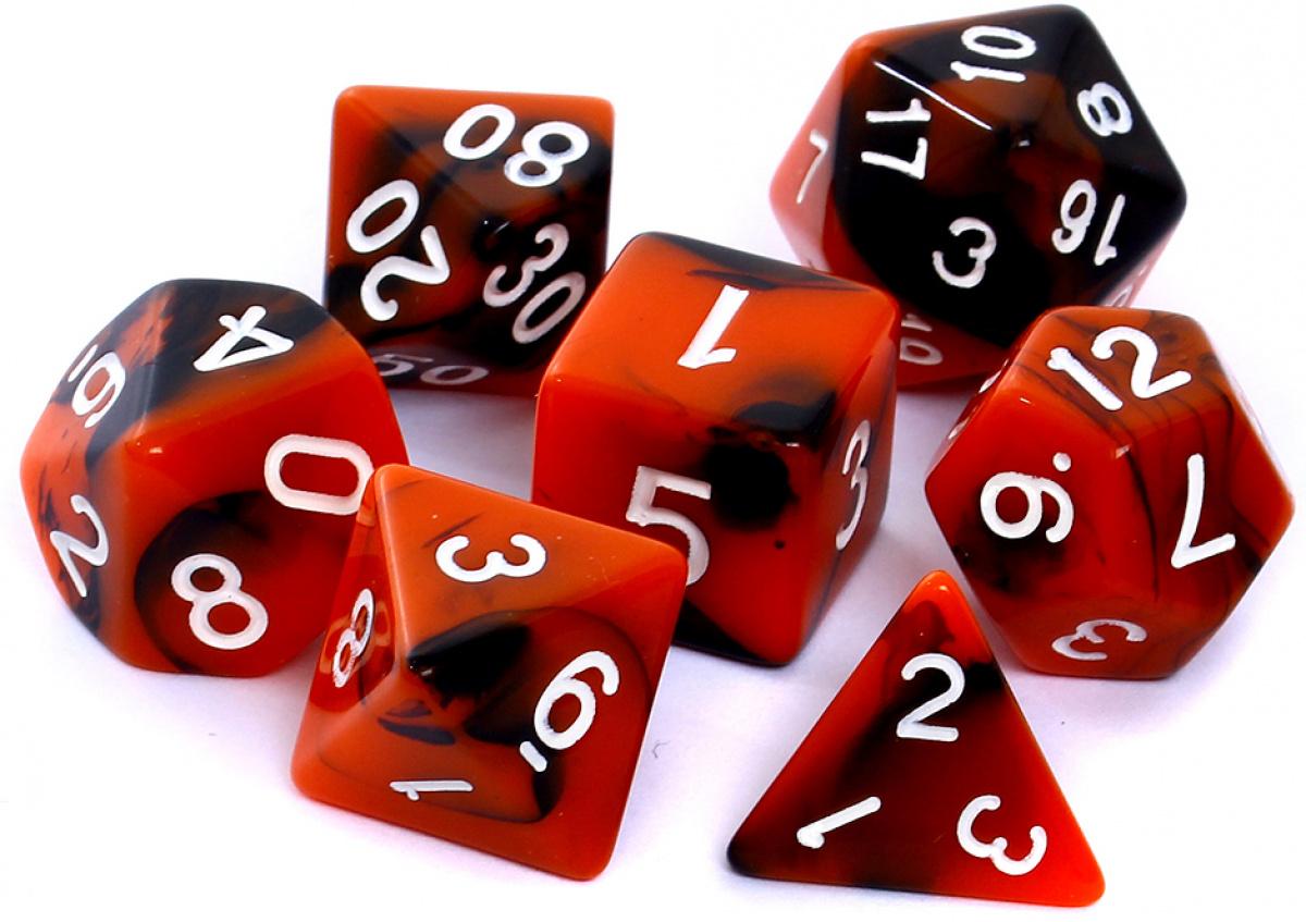Komplet kości REBEL RPG - Dwukolorowe - Pomarańczowo-czarne