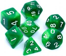 Komplet kości REBEL RPG - Dwukolorowe - Zielono-żółte