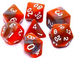 Komplet kości REBEL RPG - Dwukolorowe - Pomarańczowo-szare