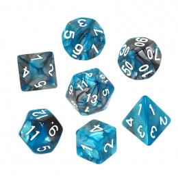 Komplet kości REBEL RPG - Dwukolorowe - Stalowo-błękitne