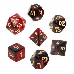 Komplet kości REBEL RPG - Dwukolorowe - Karminowo-czarne