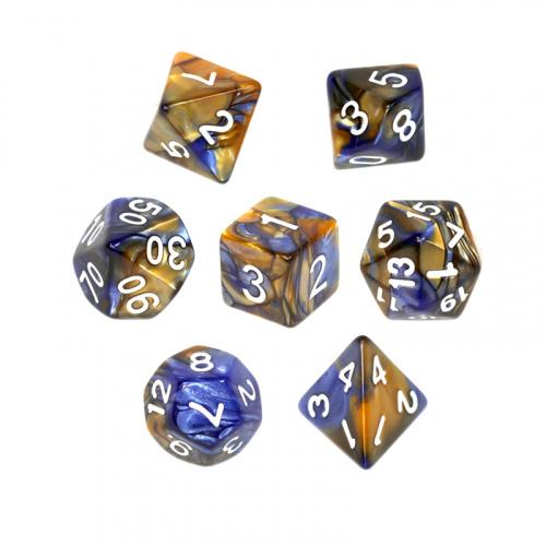 Komplet kości REBEL RPG - Dwukolorowe - Ciemnoniebiesko-żółte