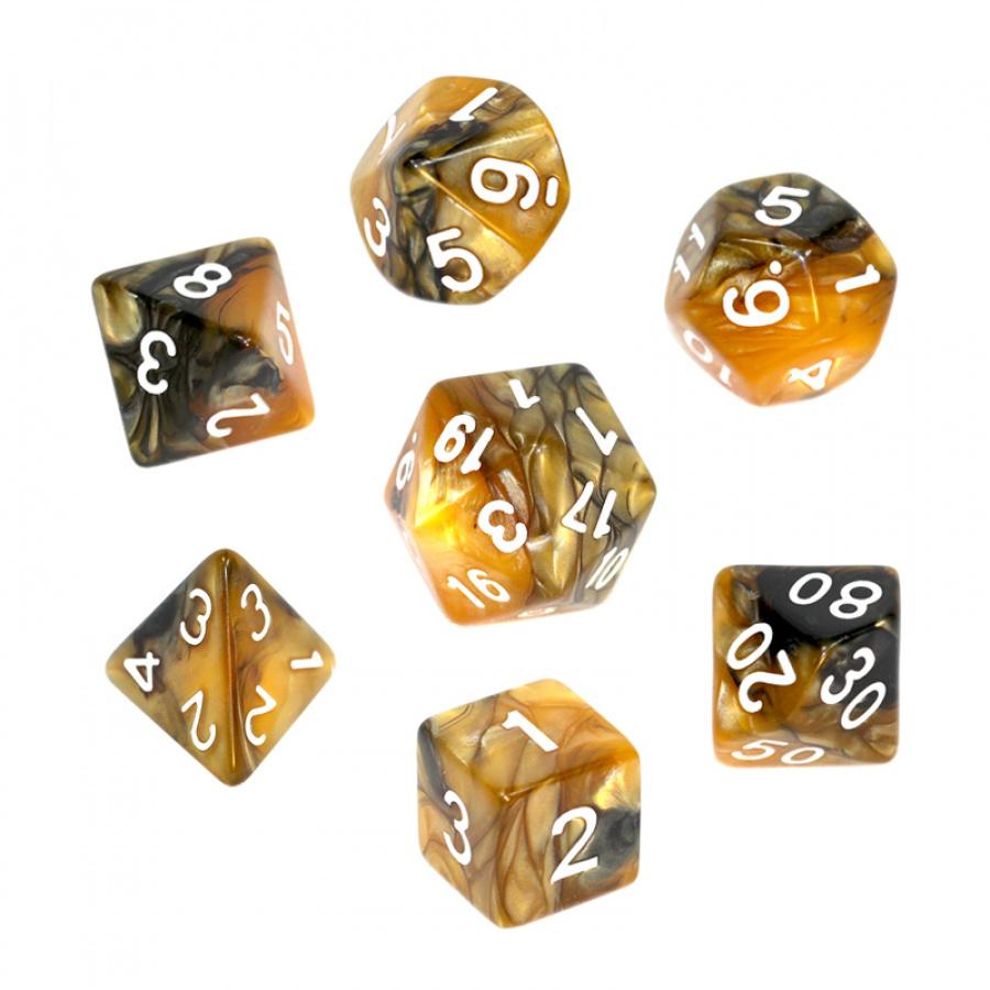 Komplet kości REBEL RPG - Dwukolorowe - Czarno-złote