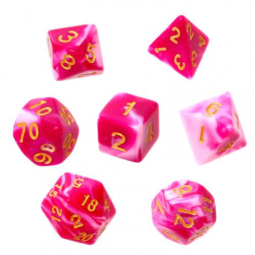 Komplet kości REBEL RPG - Dwukolorowe - Różowo-białe (złote cyfry)