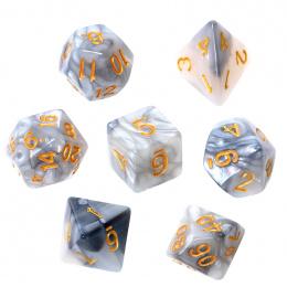 Komplet kości REBEL RPG - Dwukolorowe - Stalowo-białe (złote cyfry)