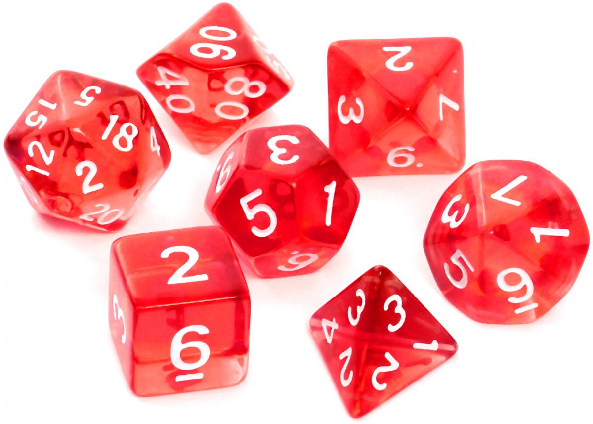 Komplet kości REBEL RPG - Kryształowe - Czerwone