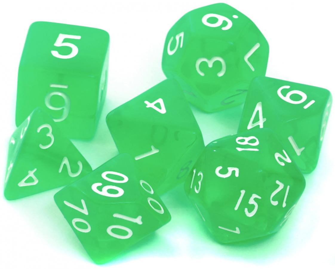 Komplet kości REBEL RPG - Kryształowe - Jasnozielone