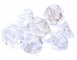 Komplet kości REBEL RPG - Kryształowe - Przezroczyste