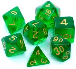 Komplet kości REBEL RPG - Kryształowe - Ciemnozielone
