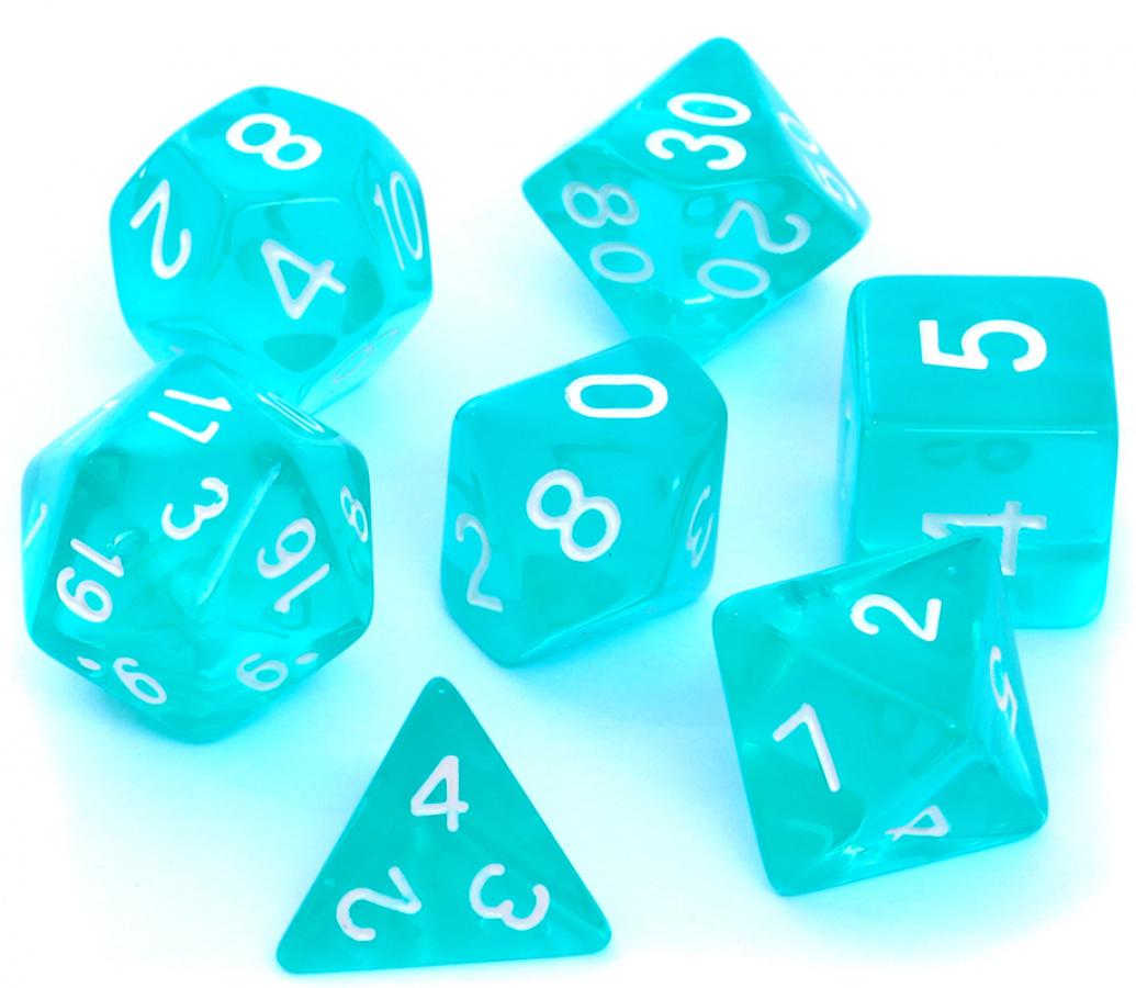 Komplet kości REBEL RPG - Kryształowe - Błękitne / Szmaragdowe