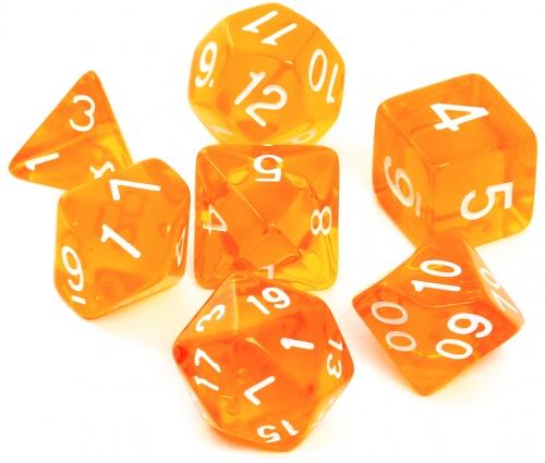 Komplet kości REBEL RPG - Kryształowe - Pomarańczowe