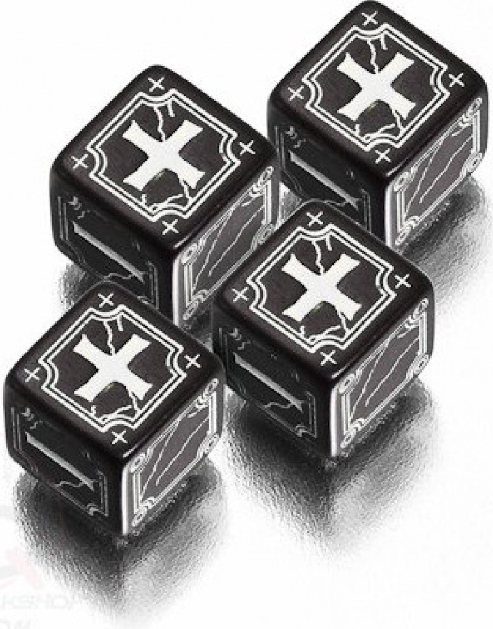 Komplet Kości Fudge - Ancient - Czarno-biały
