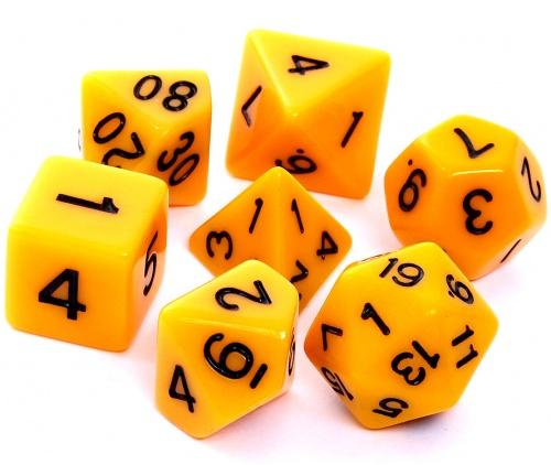 Komplet kości REBEL RPG - Matowe - Żółte