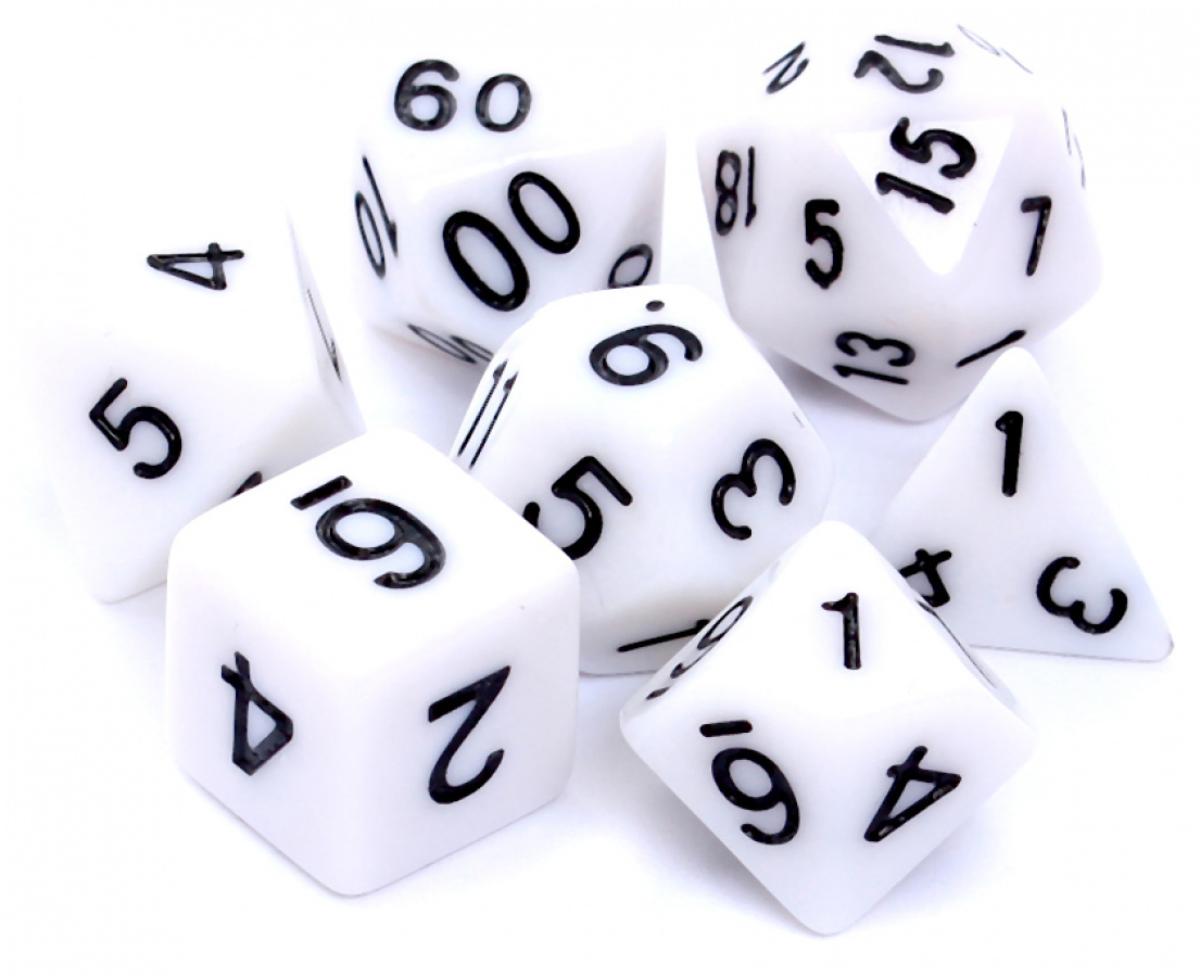 Komplet kości REBEL RPG - Matowe - Białe