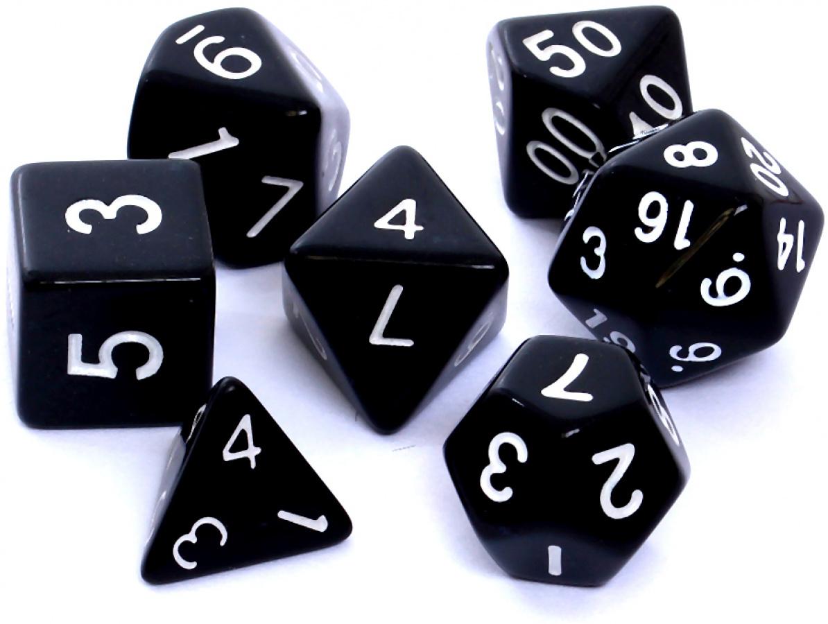 Komplet kości REBEL RPG - Matowe - Czarne
