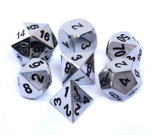 Komplet kości REBEL RPG - Metal - Polerowane srebro