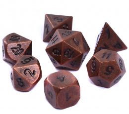 Komplet kości REBEL RPG - Metal - Antyczna miedź