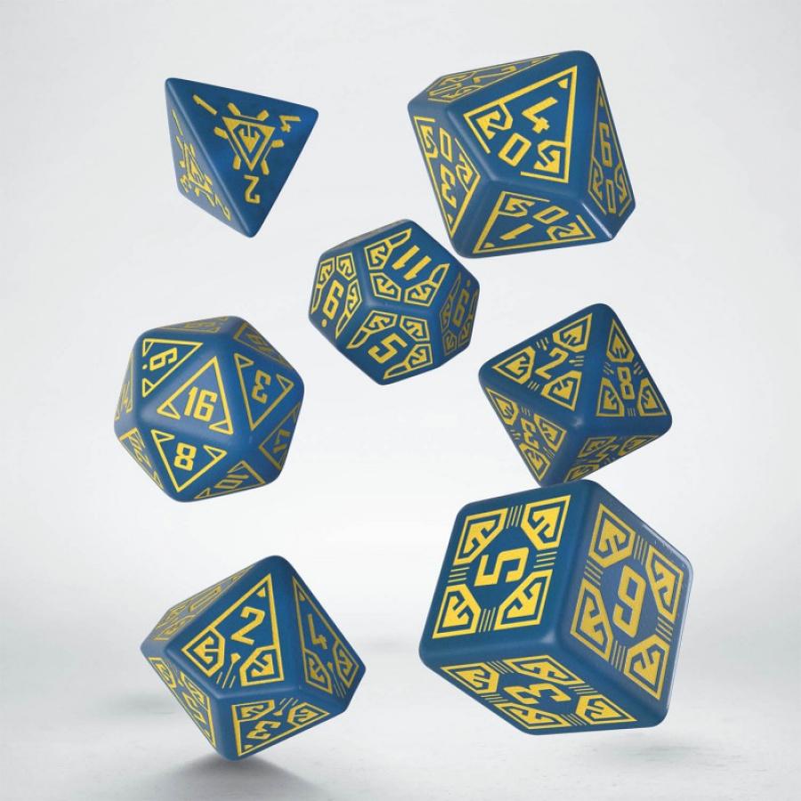 Komplet kości - Arcade - Niebiesko-żółty