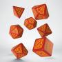 Komplet kości - Pogromców Smoków - Czerwono-pomarańczowy