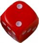 Kość matowa 6 Ścian - 10 mm - Oczka - Czerwony