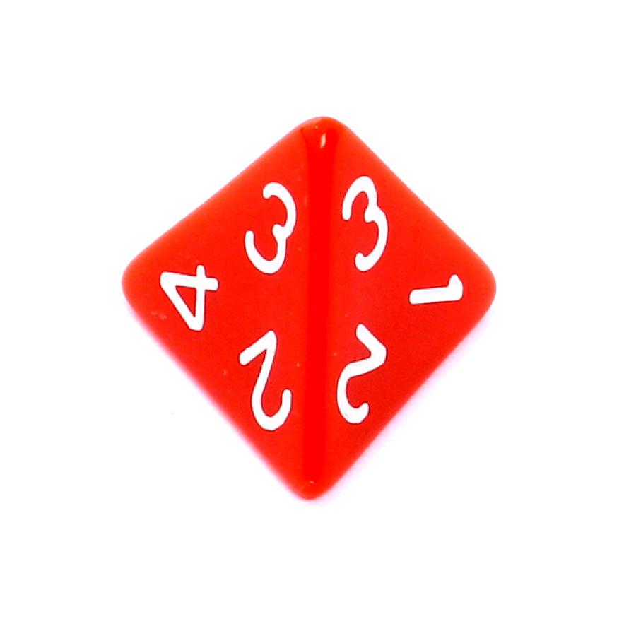 Kość REBEL matowa 4 Ściany - Cyfry - Czerwona