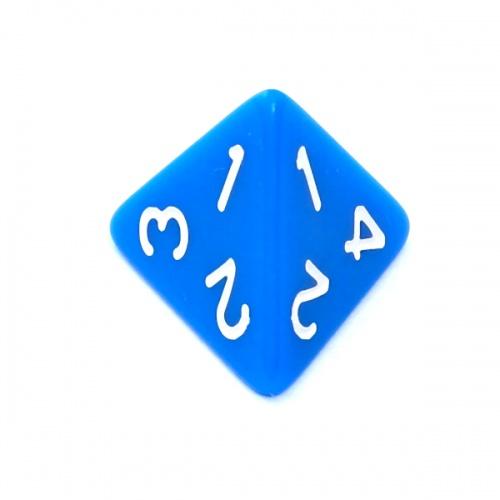 Kość REBEL matowa 4 Ściany - Cyfry - Niebieska