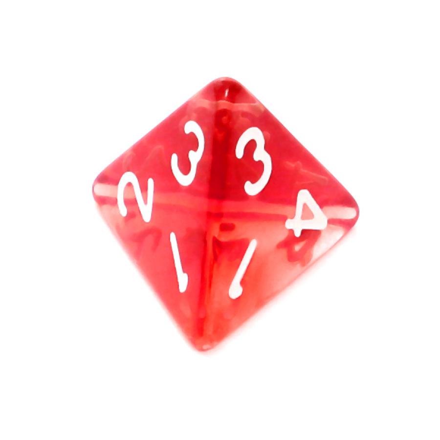 Kość REBEL kryształowa 4 Ściany - Cyfry - Czerwona
