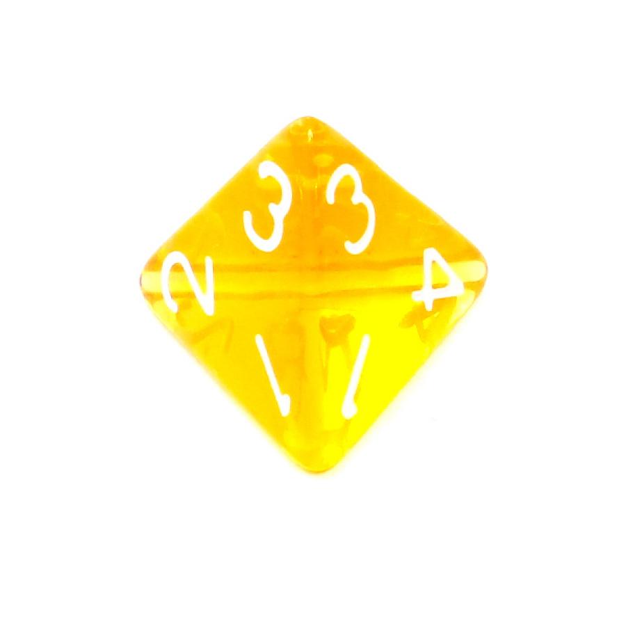 Kość REBEL kryształowa 4 Ściany - Cyfry - Żółta