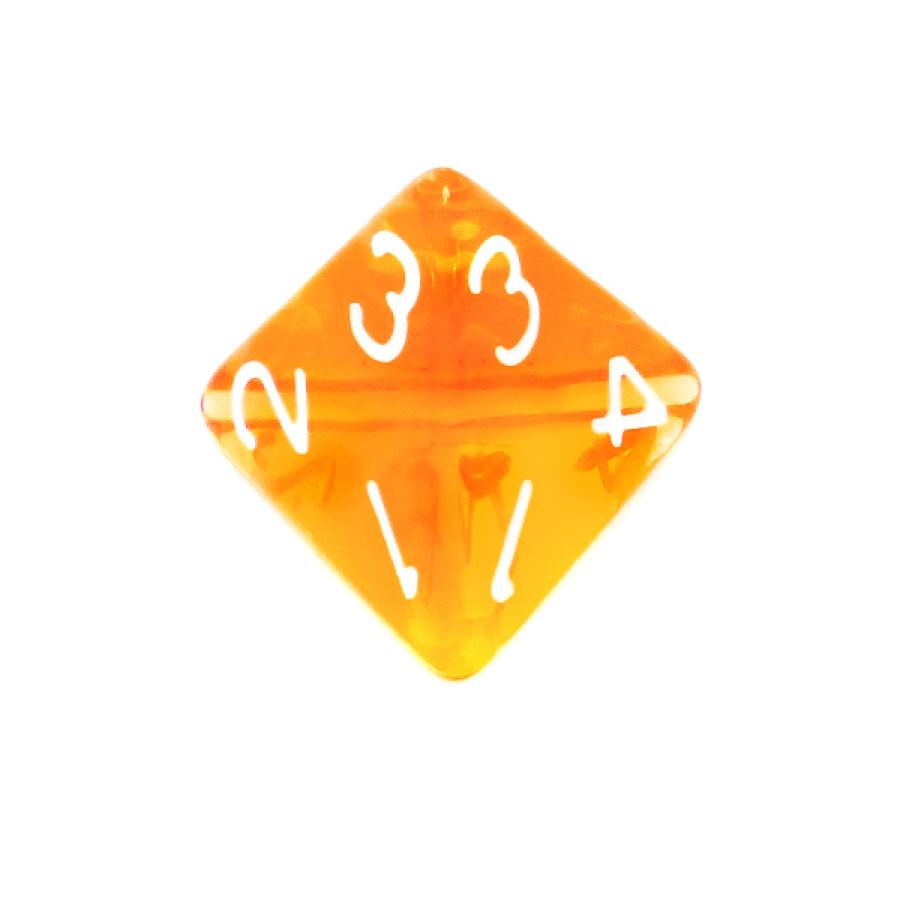 Kość REBEL kryształowa 4 Ściany - Cyfry - Pomarańczowa