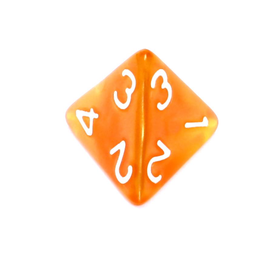 Kość REBEL perłowa 4 Ściany - Cyfry - Ciemnożółta (białe cyfry)